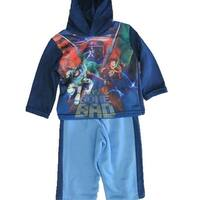 Disney Baby Boys Blue Toy Story Character Print Hooded Striped 2 Pc Pants Set 12-24M