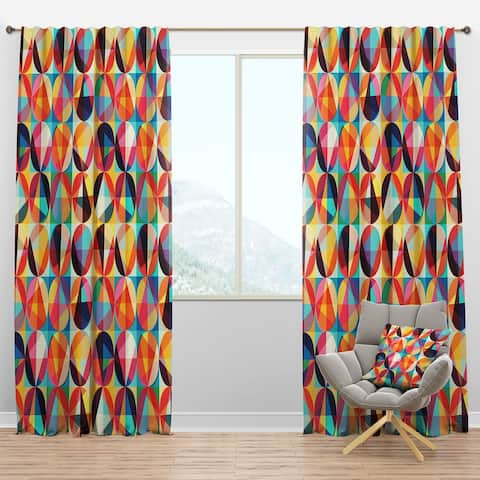 Designart 'Geometric Pattern of Circles & Triangles' Modern Blackout Curtain Panel