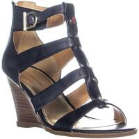 Tommy Hilfiger Osiana Wedge Sandals, Medium Blue Leather - 9 us
