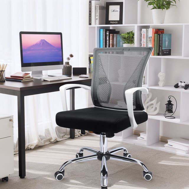 Office Chair Mid Back Swivel Lumbar Support Desk Chair, Computer Ergonomic Mesh Chair with Armrest