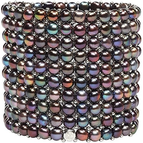 D'AMA 10 Strand Freshwater Cultured Pearl Womens Stretch Bracelet With Stainless Steel Beads