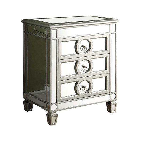 Monarch Specialties I 3701 22 Inch Wide Mirrored Accent Chest With 3 Drawers Silver