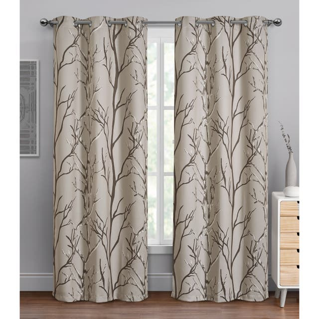 """VCNY Home Kingdom Branch Blackout Curtain Panel - 42"""" x 84"""" - Brown"""