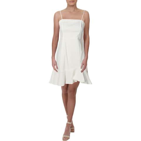 Aqua Womens Slip Dress Cotton Flounce-Hem - White