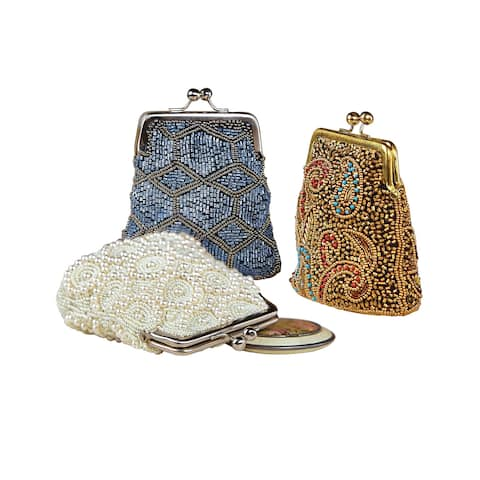 Catalog Classics Women's Beaded Kiss Lock Clasp Bags - Decorative Coin Purses - One size