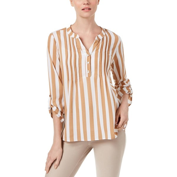 52b951ed Shop NY Collection Womens Blouse Striped Pleated - Free Shipping On ...