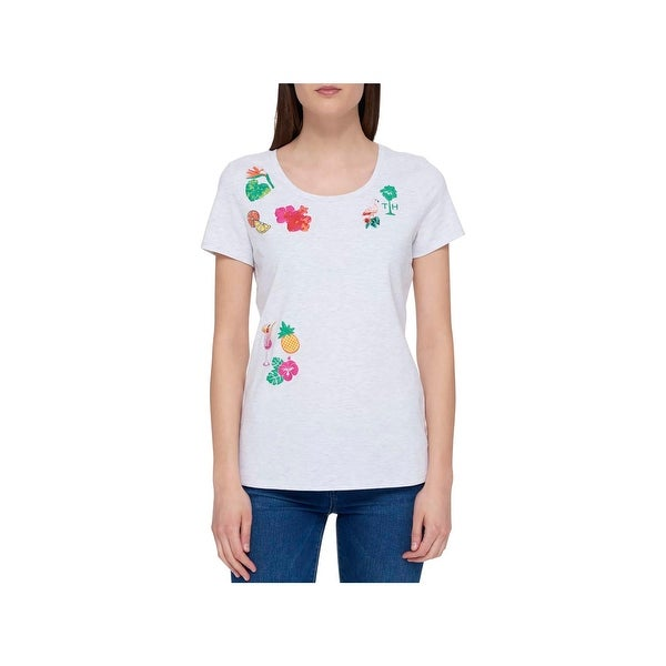 1f11e332 Shop Tommy Hilfiger Womens T-Shirt Printed Embroidered - Free Shipping On  Orders Over $45 - Overstock - 22513693