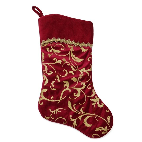 "20"" Elegant Burgundy Red and Gold Flourish Design Christmas Stocking"
