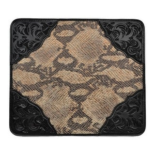 3D Western Mouse Pad Floral Metallic Snake Inlay Black