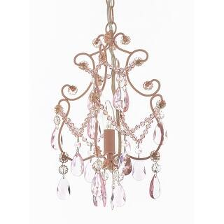 Wrought Iron And Crystal 1 Light Chandelier Pendant Pink Lighting Hardwire Plug In Perfect For