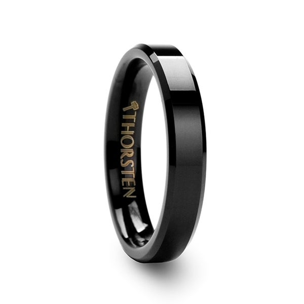 Vienna Beveled Black Tungsten Band