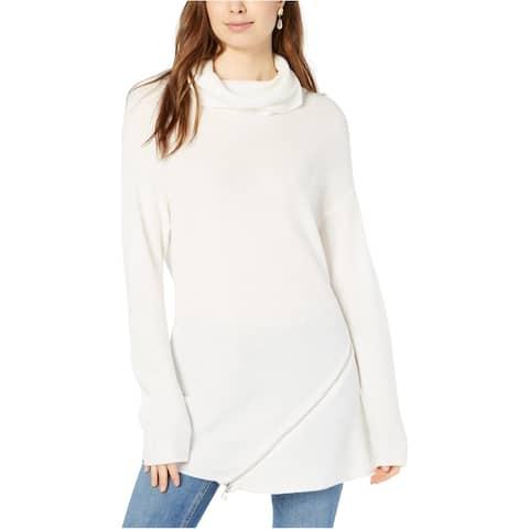 bar III Womens Zipper Tunic Sweater, White, Large