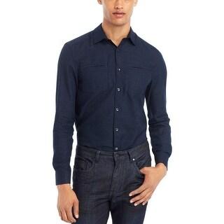 Kenneth Cole Reaction Mini Striped Shirt Dark Grape Blue Combo Small