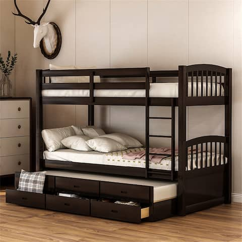 Twin over Twin Wood Bunk Bed with Trundle and Drawers, Espresso