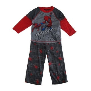Marvel Little Boys Red Gray Spiderman Print Long Sleeve 2 Pc Pajama Set
