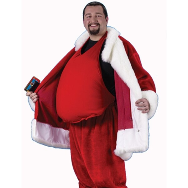 Padded Santa Belly Santa Claus Costume Accessory - Adult One Size - RED