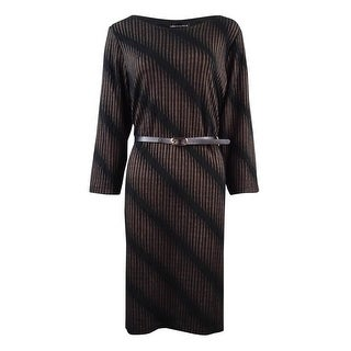 Connected Women's Diagonal Striped 3/4 Sleeve Dress (8, Black/Gold) - GOLD - 8