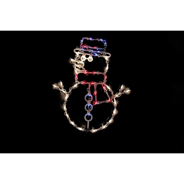"""18"""" Lighted Snowman Christmas Window Silhouette Decoration - WHITE"""