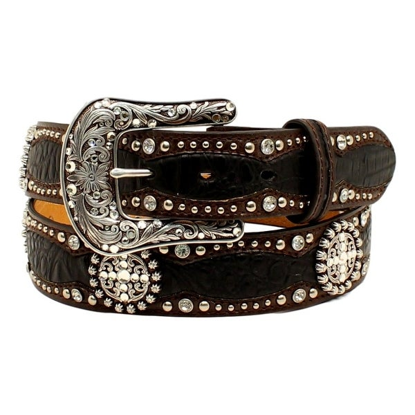 Ariat Western Belt Women Scalloped Gator Studs Conchos Black
