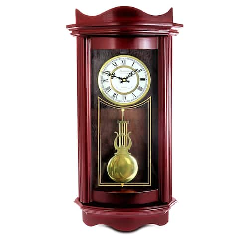 Bedford Clock Collection Decorative Wall Clock with Pendulum in Cherry