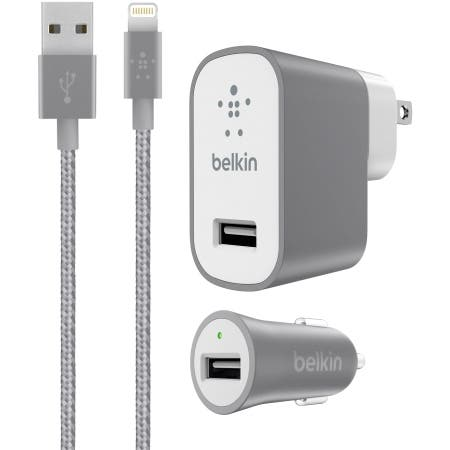 Belkin Wall and Car Charger Kit for iPhone 8/7 & iPad - Retail Packaging - Gray - Grey