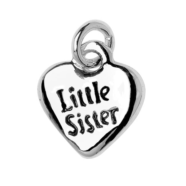 Silver Plated Lightweight Charm, 2-Sided Little Sister Heart 10x9.2x2mm, 1 Piece, Silver/Black