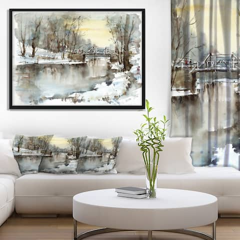 Designart 'White Bridge Over River' Landscape Art Print Framed Canvas