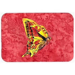 Carolines Treasures 8862CMT 20 x 30 in. Butterfly On Red Kitchen Or Bath Mat