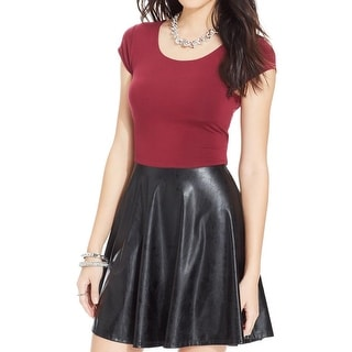 Miss Chievous Womens Juniors Clubwear Dress Faux Leather Cut-Out - L