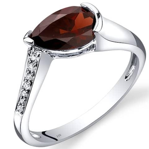 14 Karat White Gold Garnet Diamond Tear Drop Ring 1.54 Carats