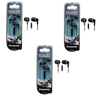 Panasonic ErgoFit In-Ear Earbud Headphones with Mic/Controller - 3 Pack (Black)