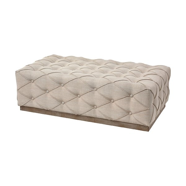 "47"" Brown Tufted Linen Cocktail Ottoman - N/A"