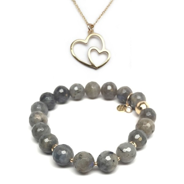 Grey Labradorite Bracelet & Double Heart Gold Charm Necklace Set