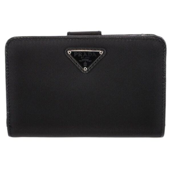 Prada Women  x27 s 1ML225 UZO Black Nylon Tessuto Lampo French Wallet - 5.5 9738828d2d
