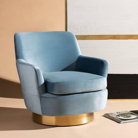 "Safavieh Couture Pyrite Modern Glam Velvet Swivel Chair - 31.1"" W x 33.5"" L x 30.3"" H"