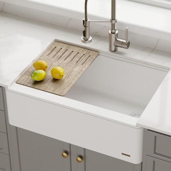 """KRAUS Bellucci 30"""" CeramTek Granite Composite Farmhouse Kitchen Sink. Opens flyout."""