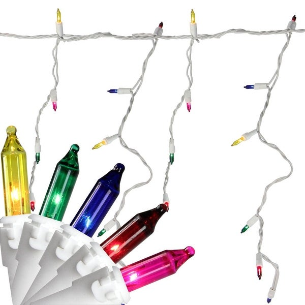 "Set of 150 Multi-Color Mini Icicle Christmas Lights 3"" Spacing - White Wire"