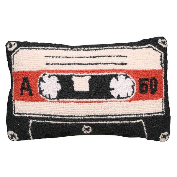 Throw Pillow - 100% Hand Hooked Wool - Retro Cassette Tape