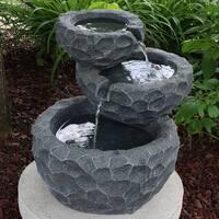 Sunnydaze 3-Tier Chiseled Basin Solar on Demand Garden Fountain, 17 Inches