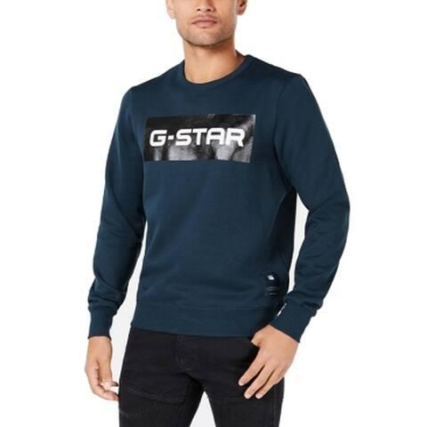 G-Star Raw Mens Sweaters Blue Size Medium M Logo Crewneck Pullover