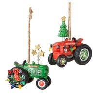 Red and Green Farm Tractors Christmas Holiday Ornaments Set of 2