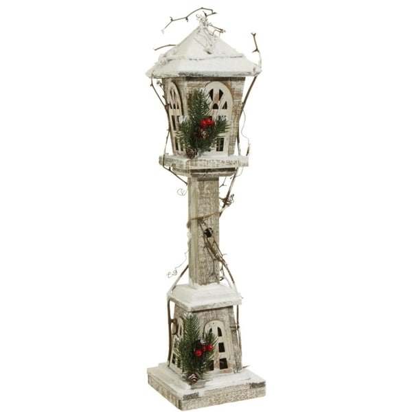 """24"""" Country Cabin White and Brown Distressed Antique Style Lighted Lamp Post Christmas Decoration"""