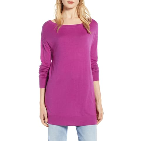 Halogen Womens Sweater Purple Size Small S Boatneck Long Sleeve Tunic