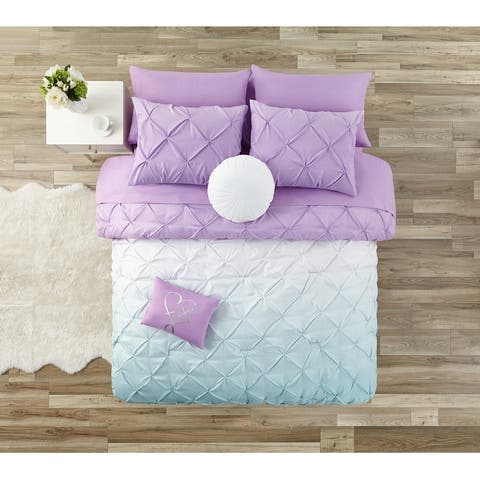Have a Little Faith Ombre Pintuck Bed in a Bag Comforter Set