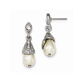 Silvertone Downton Abbey Crystal Dangle Earrings