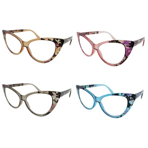 Womens Cat Eye Reading Glasses, 4 Pairs - 4PiecePack