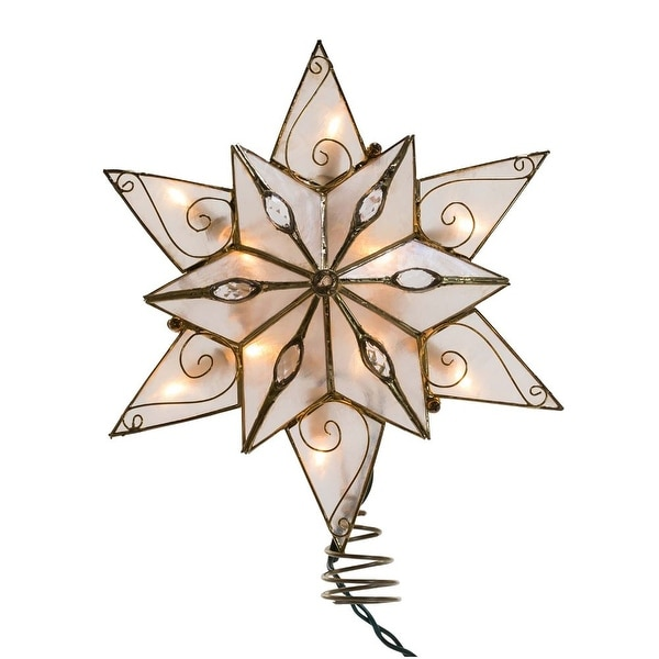 9 5 Transparent Ivory Double Capiz Star With Gems Lighted Christmas Tree Topper