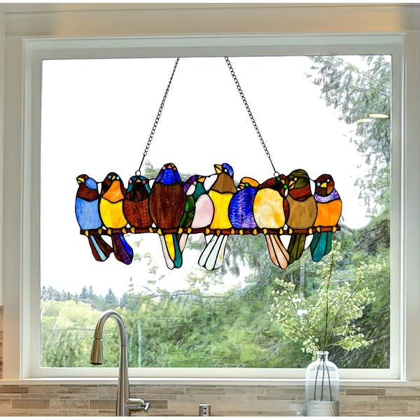 River Of Goods Stained Glass Birds On Wire 9 25 In Window Panel 24 25 L X 0 25 W X 9 5 H On Sale Overstock 13329134