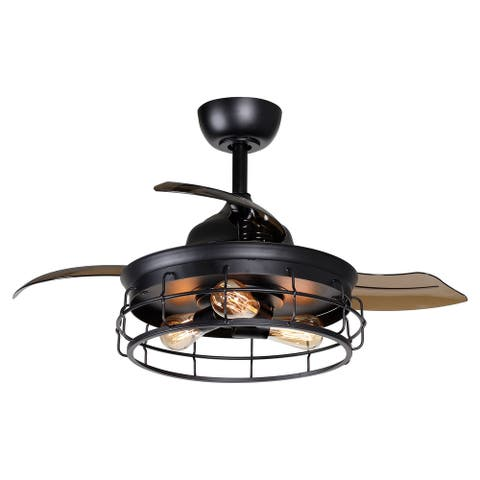 "Industrial 36"" Black Metal Retractable Ceiling Fan with Cage - 36-in"