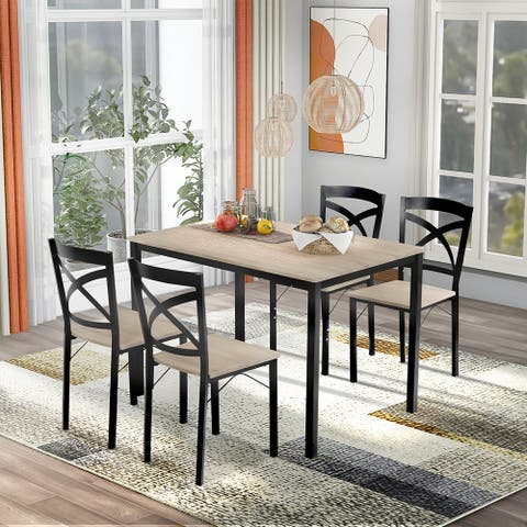 5-Piece Wooden Dining Set with Metal Frame and 4 Ergonomic Chairs